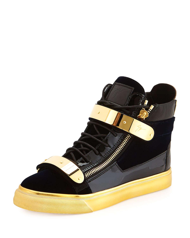 4528d4714e24 Lyst - Giuseppe Zanotti Mens Velvet High-Top Sneaker in Blue for Men