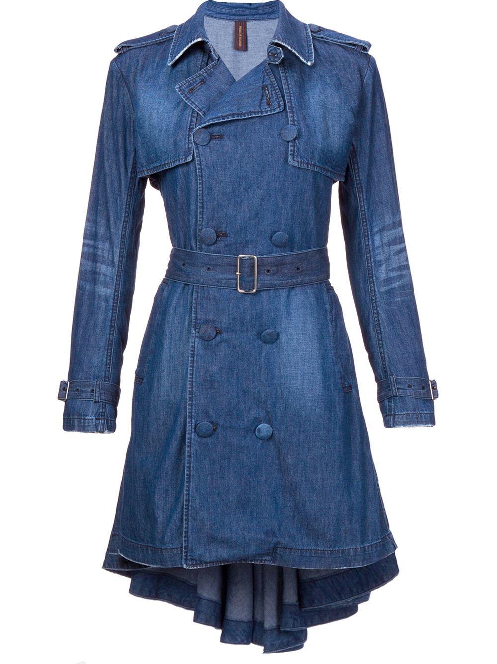 Miharayasuhiro Denim Trench Coat in Blue | Lyst