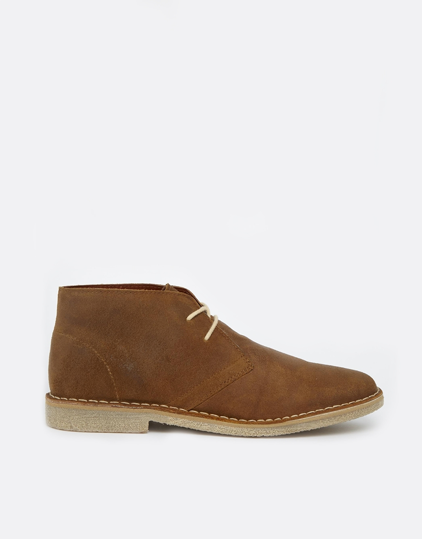 asos desert boots in waxed suede in brown for lyst
