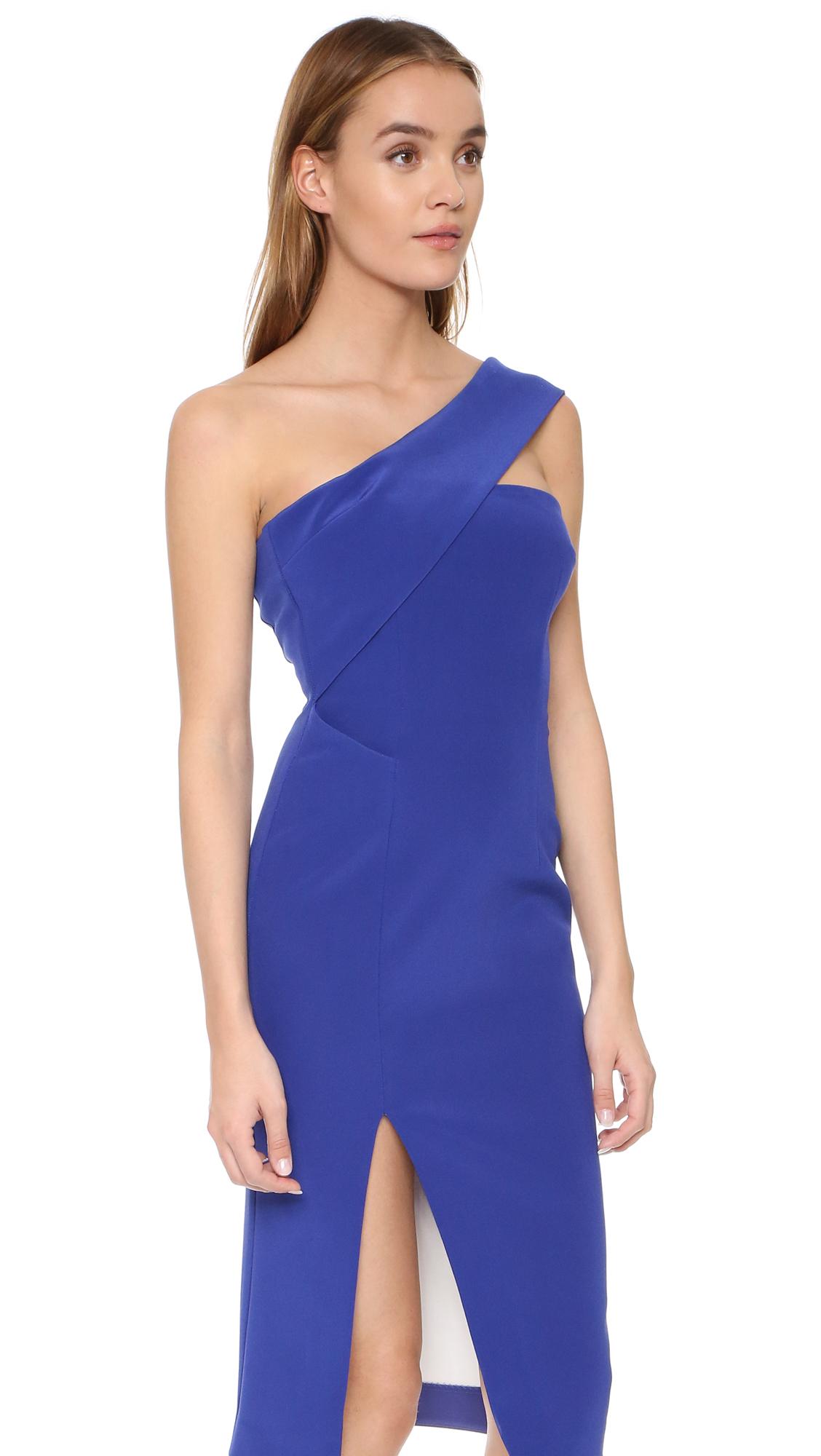 Nicholas Tech Bonded One Shoulder Dress in Blue | Lyst