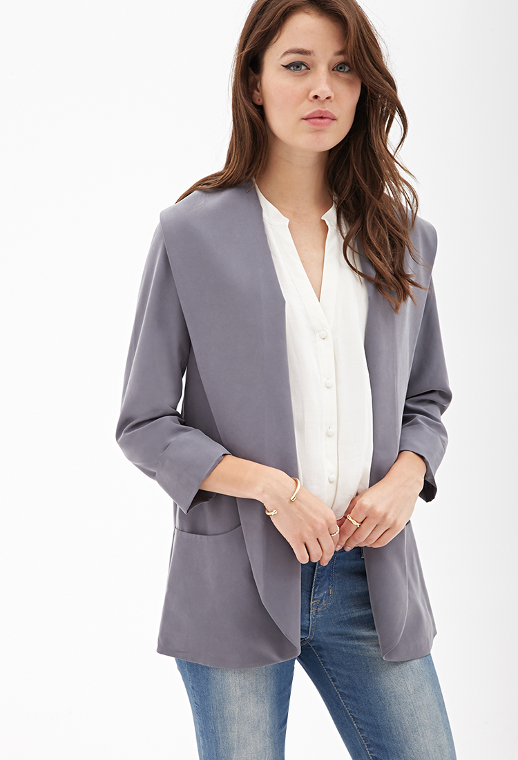 forever 21 contemporary oversized shawl collar blazer in gray lyst. Black Bedroom Furniture Sets. Home Design Ideas