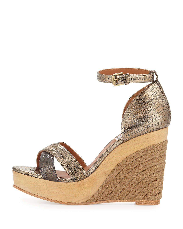 lanvin metallic espadrille wedge sandal in metallic lyst