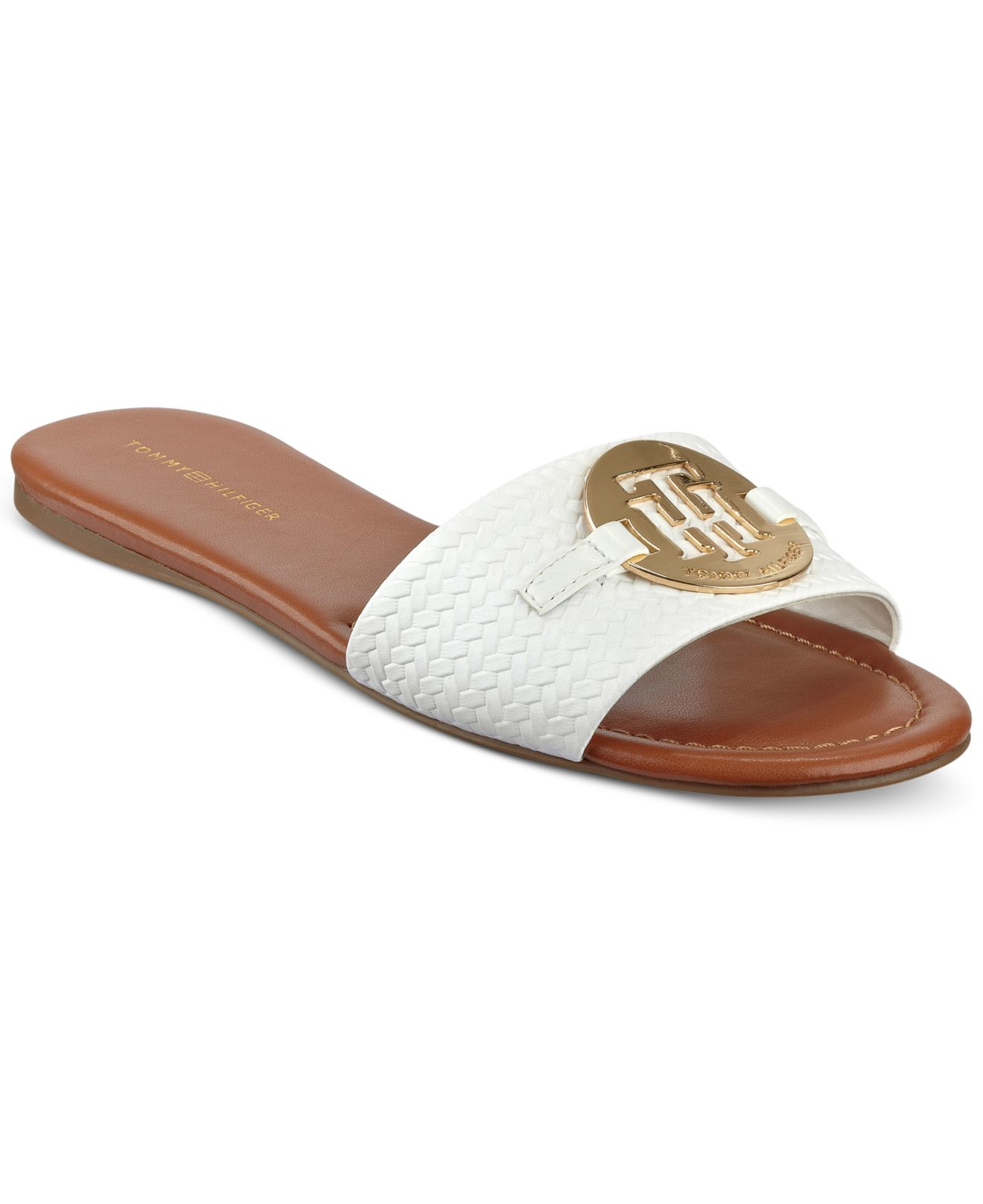 16009dd7cde69 Lyst - Tommy Hilfiger Fabre Logo Slide-on Sandals in White