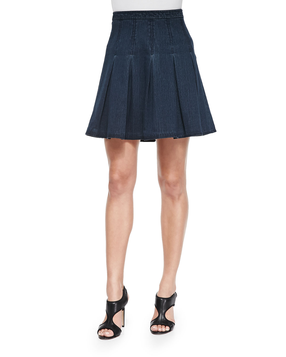 diane furstenberg gemma pleated denim a line skirt in