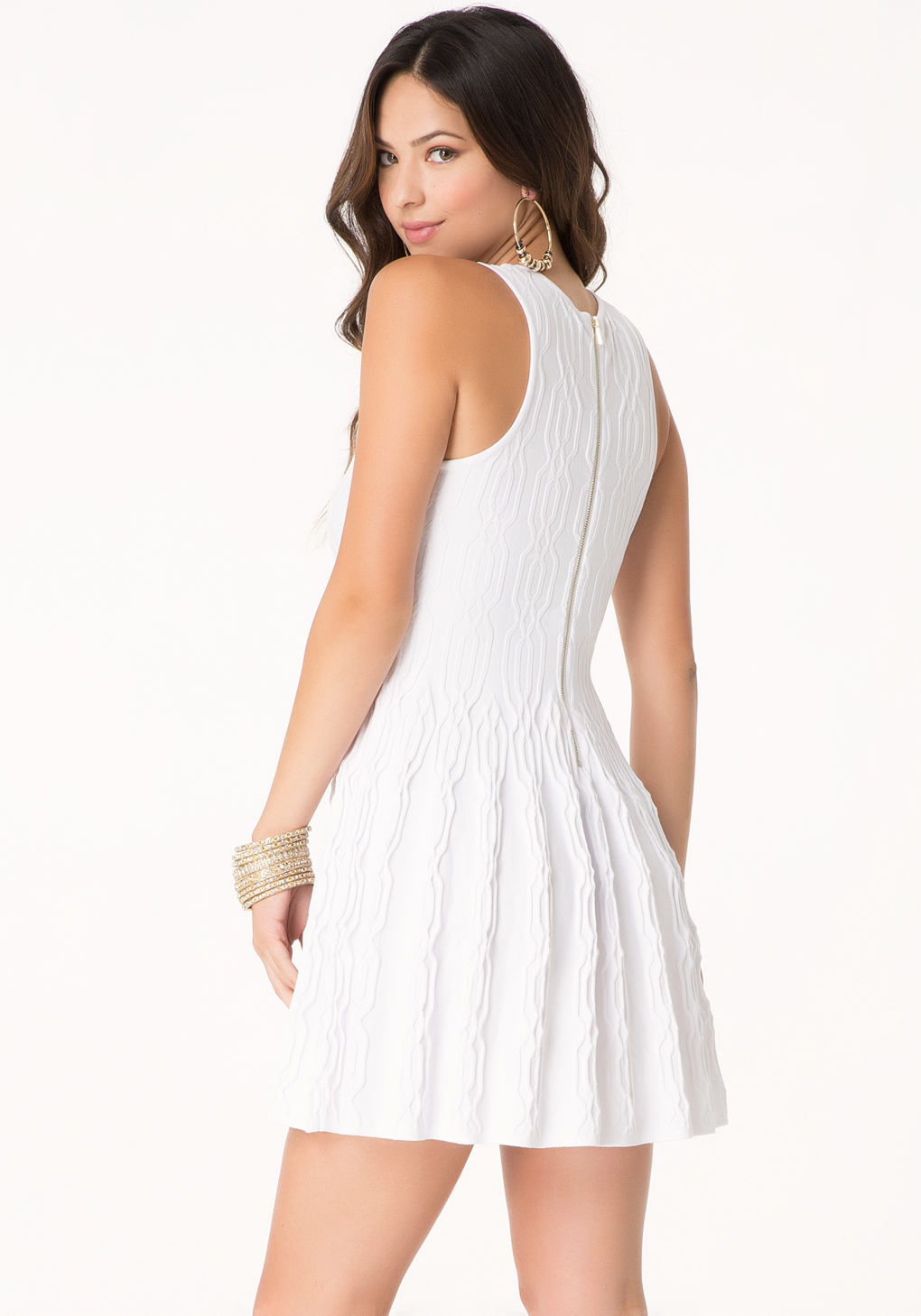 lyst bebe petite cable sweater dress in white. Black Bedroom Furniture Sets. Home Design Ideas