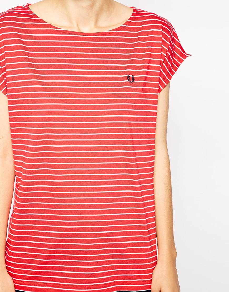 Lyst Fred Perry Striped T Shirt In Red