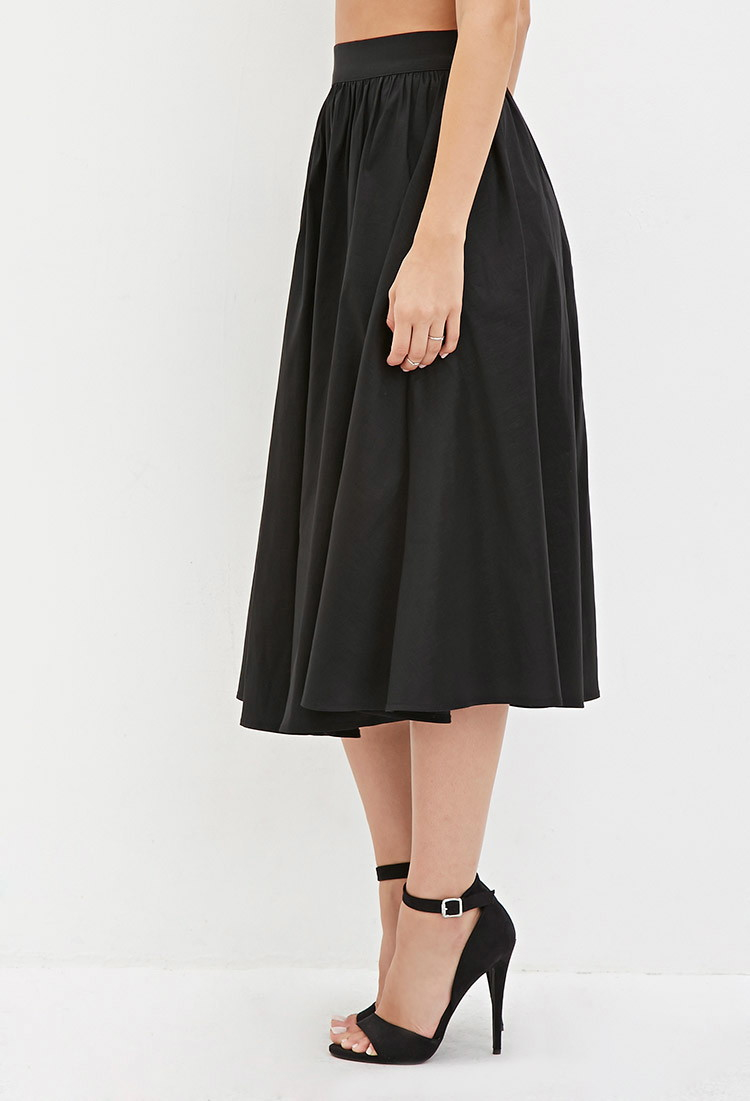 Forever 21 A-line Midi Skirt in Black | Lyst