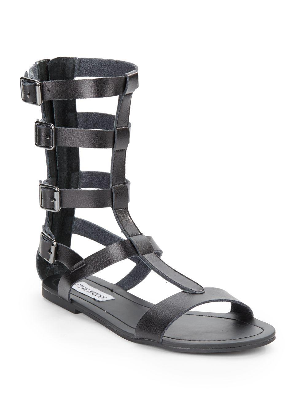 Steve Madden Gunterr Leather Gladiator Flat Sandals In