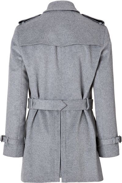 Burberry Woolcashmere Short Britton Trench Coat In Pale
