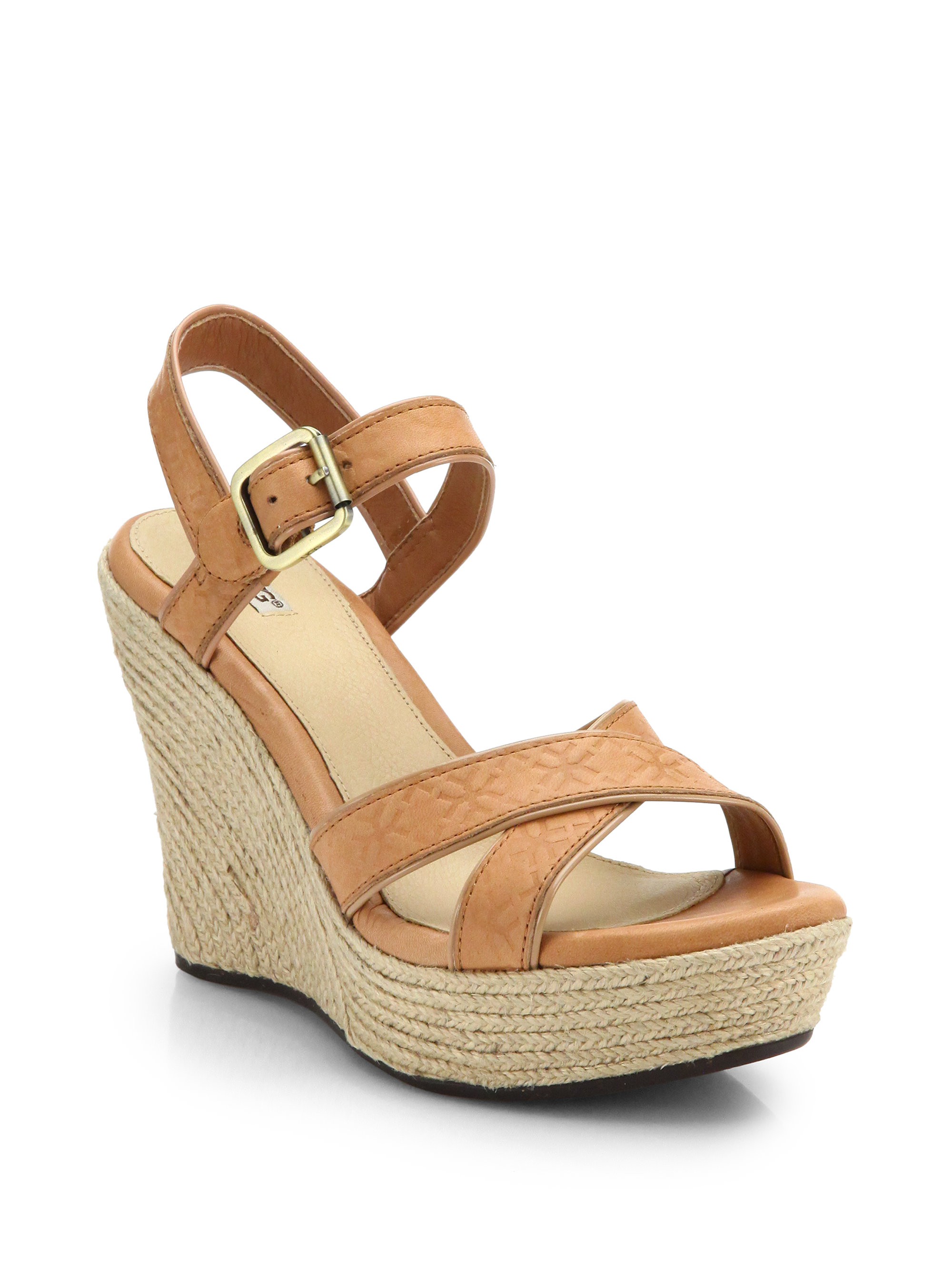 d8f94ecff95 UGG Brown Jackilyn Leather Wedge Sandals