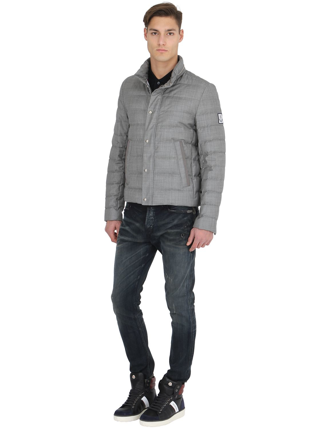 890edc594 Moncler Gamme Bleu Gray Waterproof Grisaglia Wool Down Jacket for men