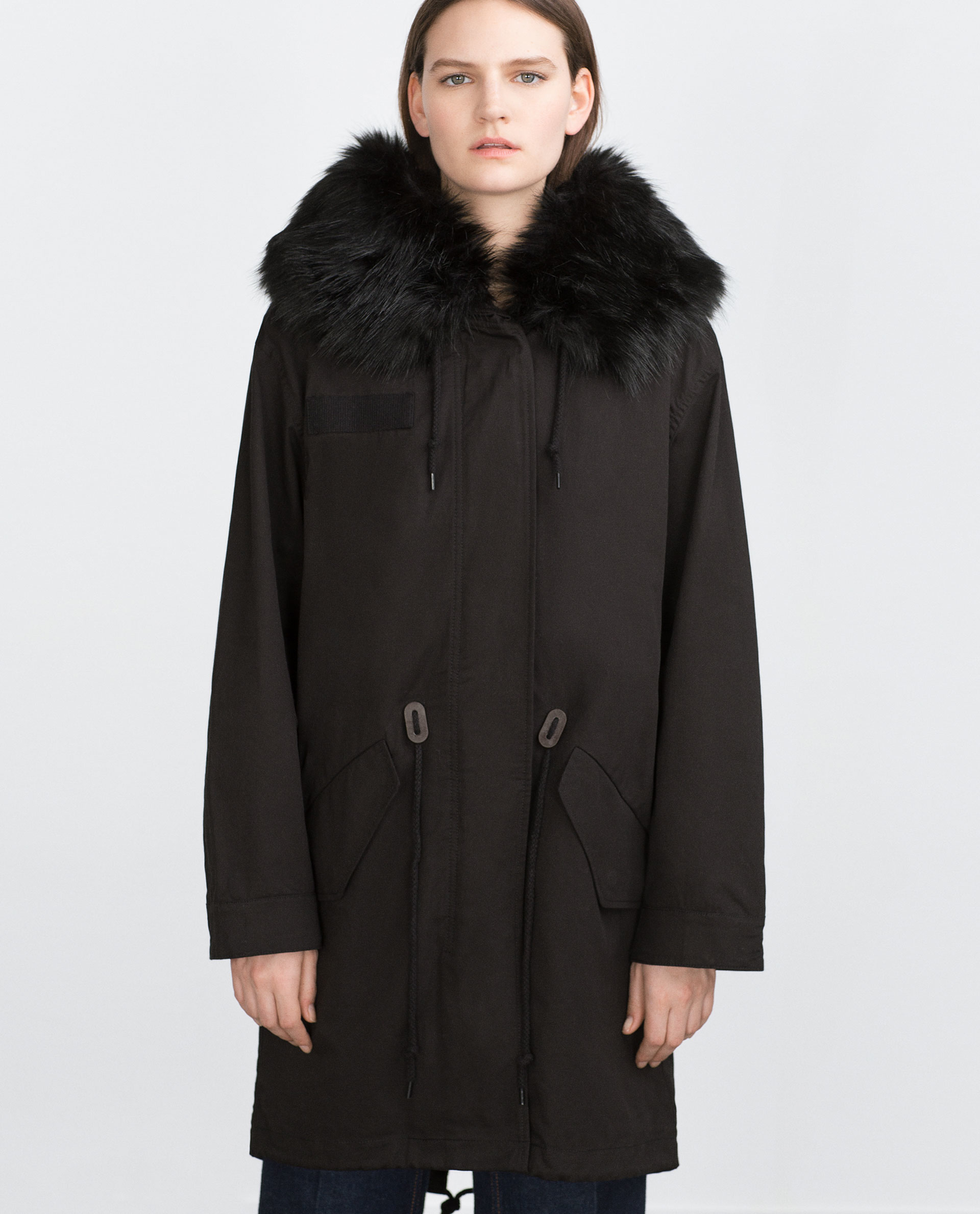 Zara Oversized Parka in Black | Lyst