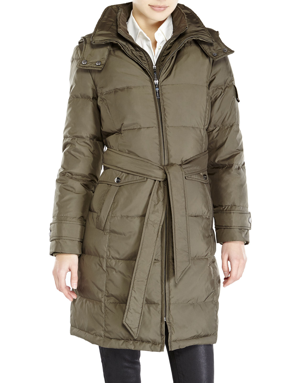 Ellen tracy Petite Belted Long Down Coat in Green | Lyst