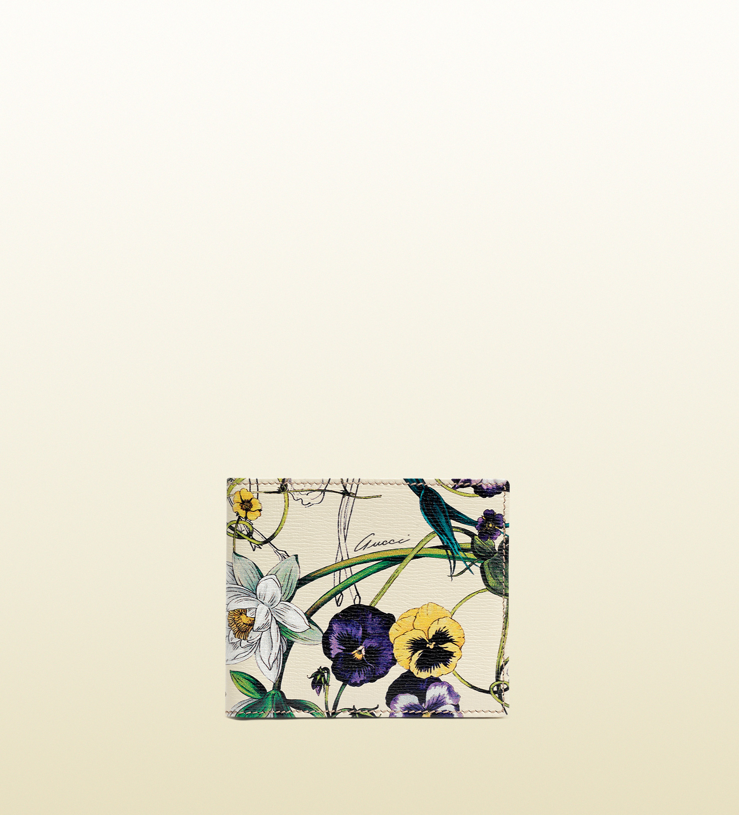 Lyst - Gucci Flora Print Leather Bifold Wallet in White ...