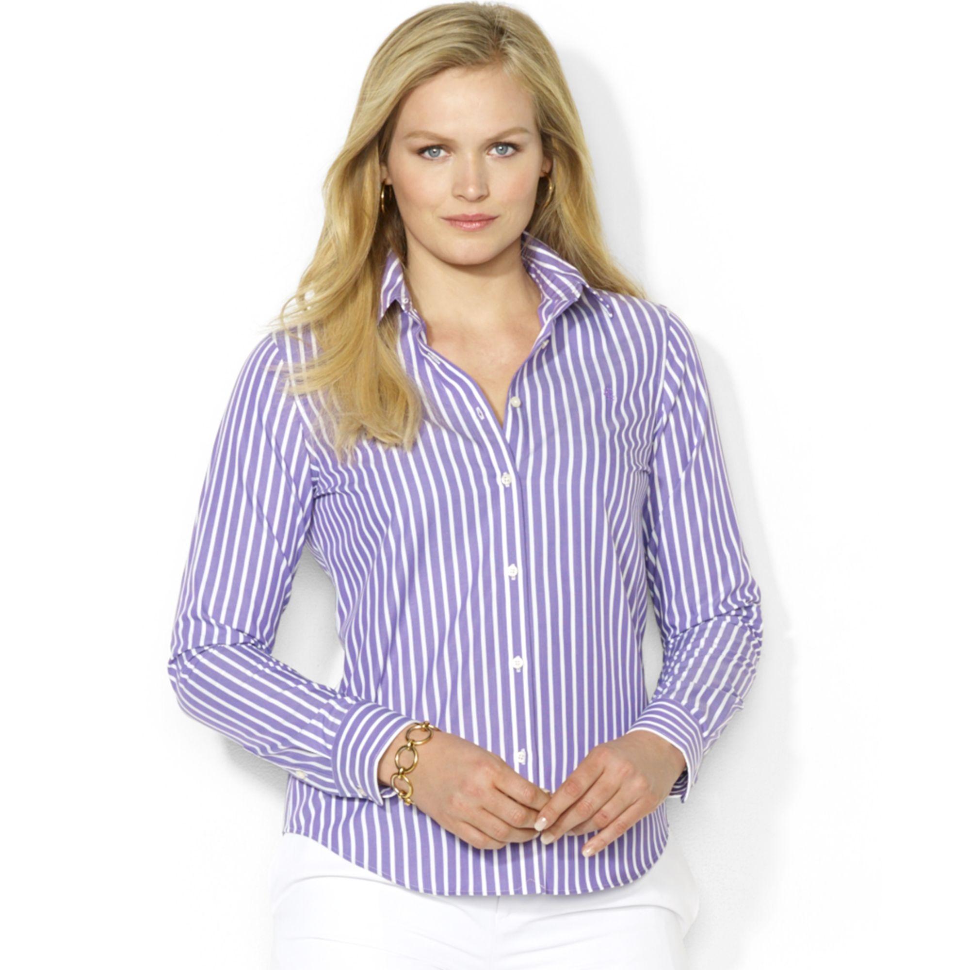 0c95e8564fcb Lyst - Lauren by Ralph Lauren Plus Size Striped Shirt in Purple