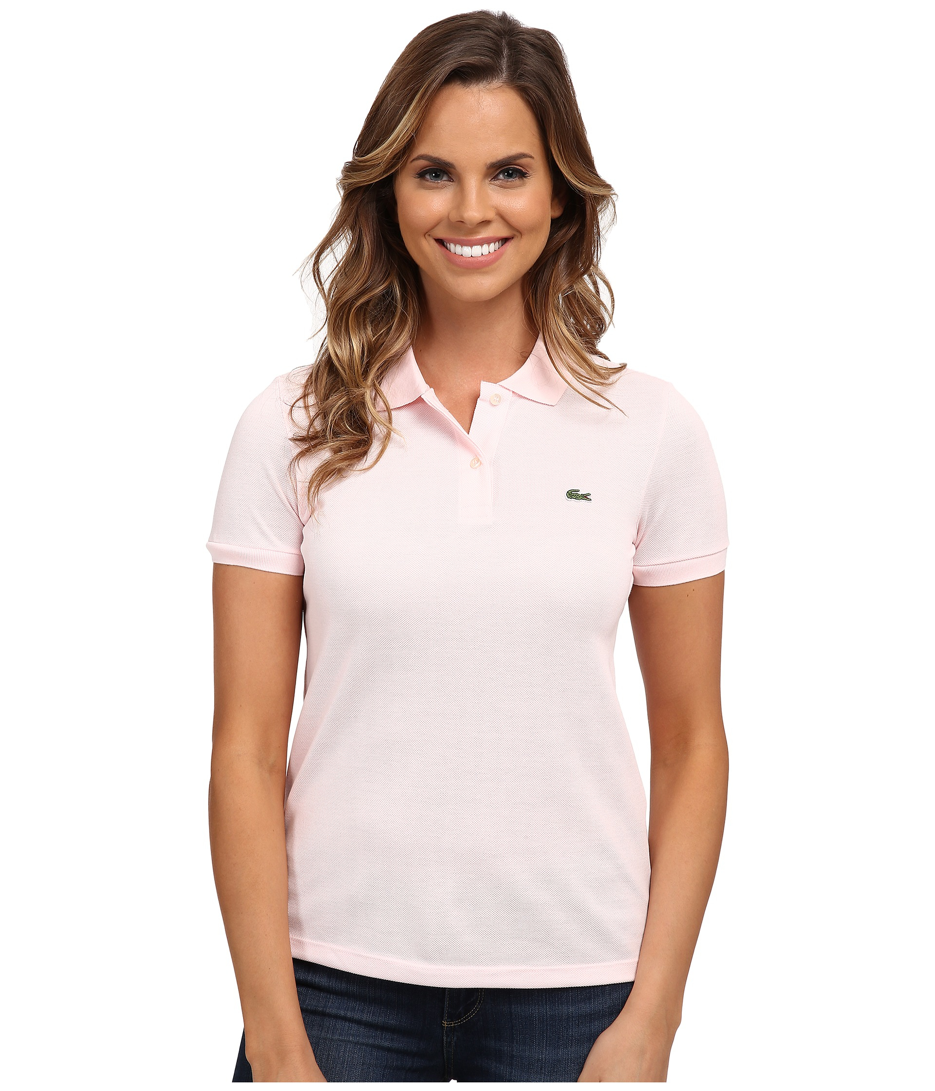 Lacoste short sleeve classic fit pique polo shirt in pink for Short sleeve lacoste shirt