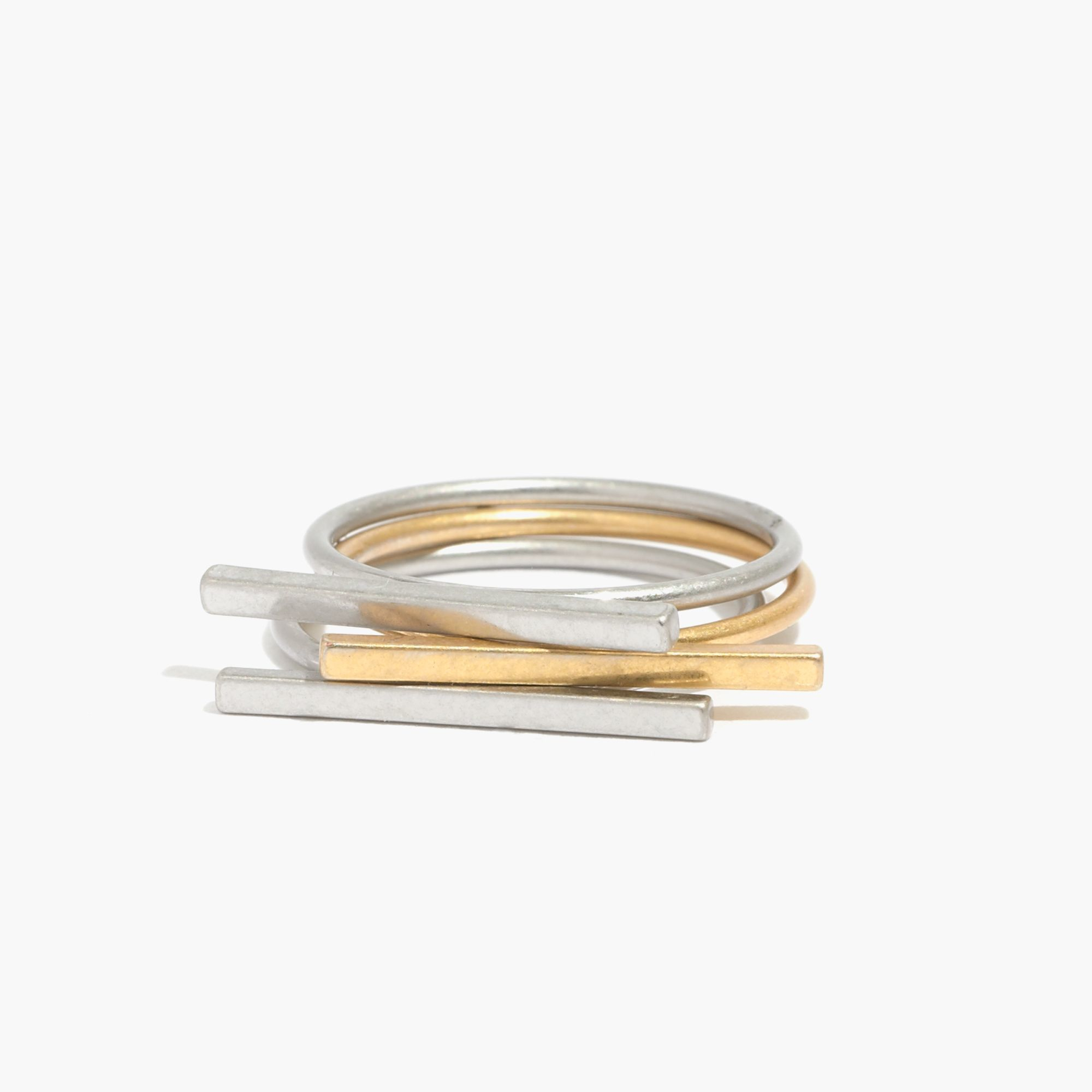 Madewell Long Bar Stacking Rings in Metallic | Lyst