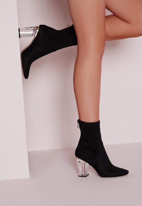 d2aadf5c496c Lyst - Missguided Perspex Faux Suede Heel Ankle Boots Black in Black