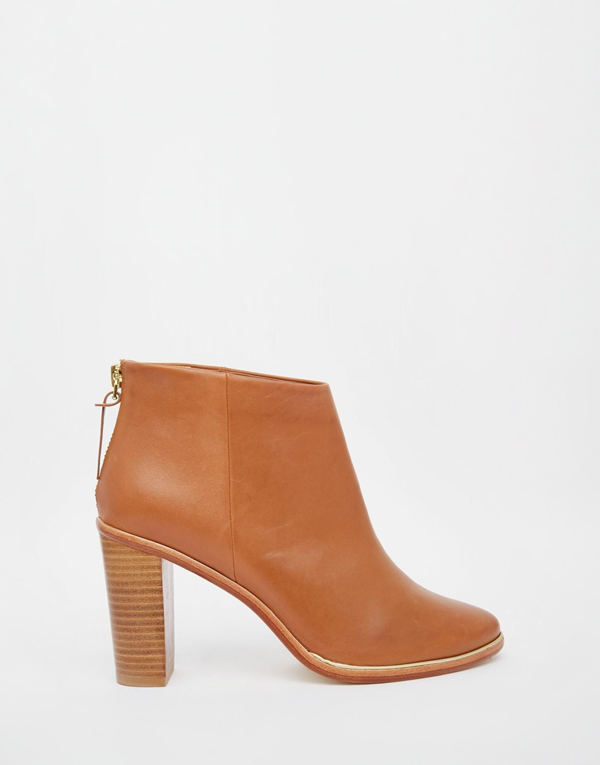 Ted baker Lorca 2 Tan Leather Heeled Ankle Boots in Brown | Lyst