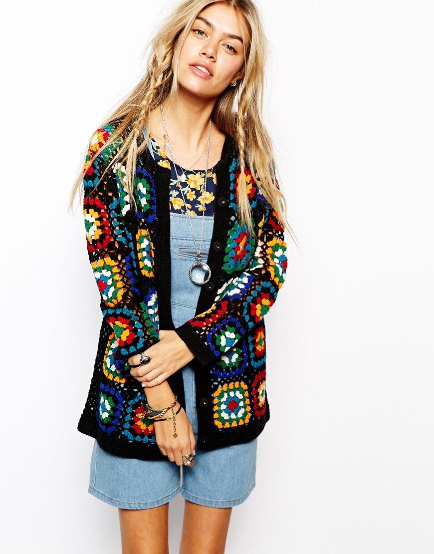 Cardigans And Necklaces: Asos Premium Patchwork Crochet Cardigan