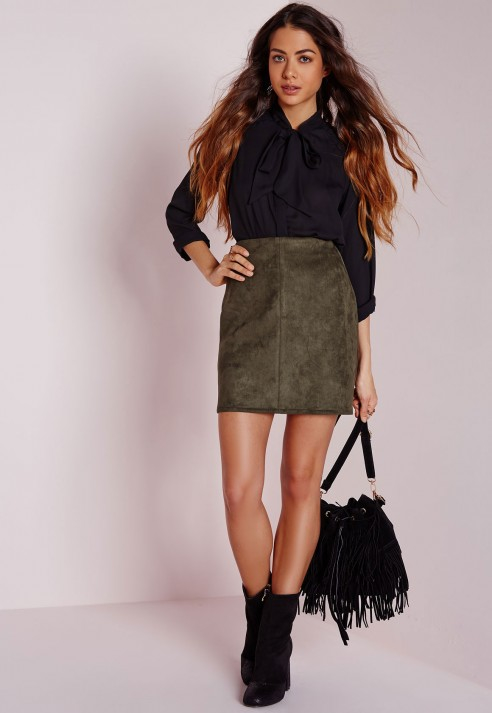 Missguided Faux Suede Mini Skirt Khaki in Natural | Lyst