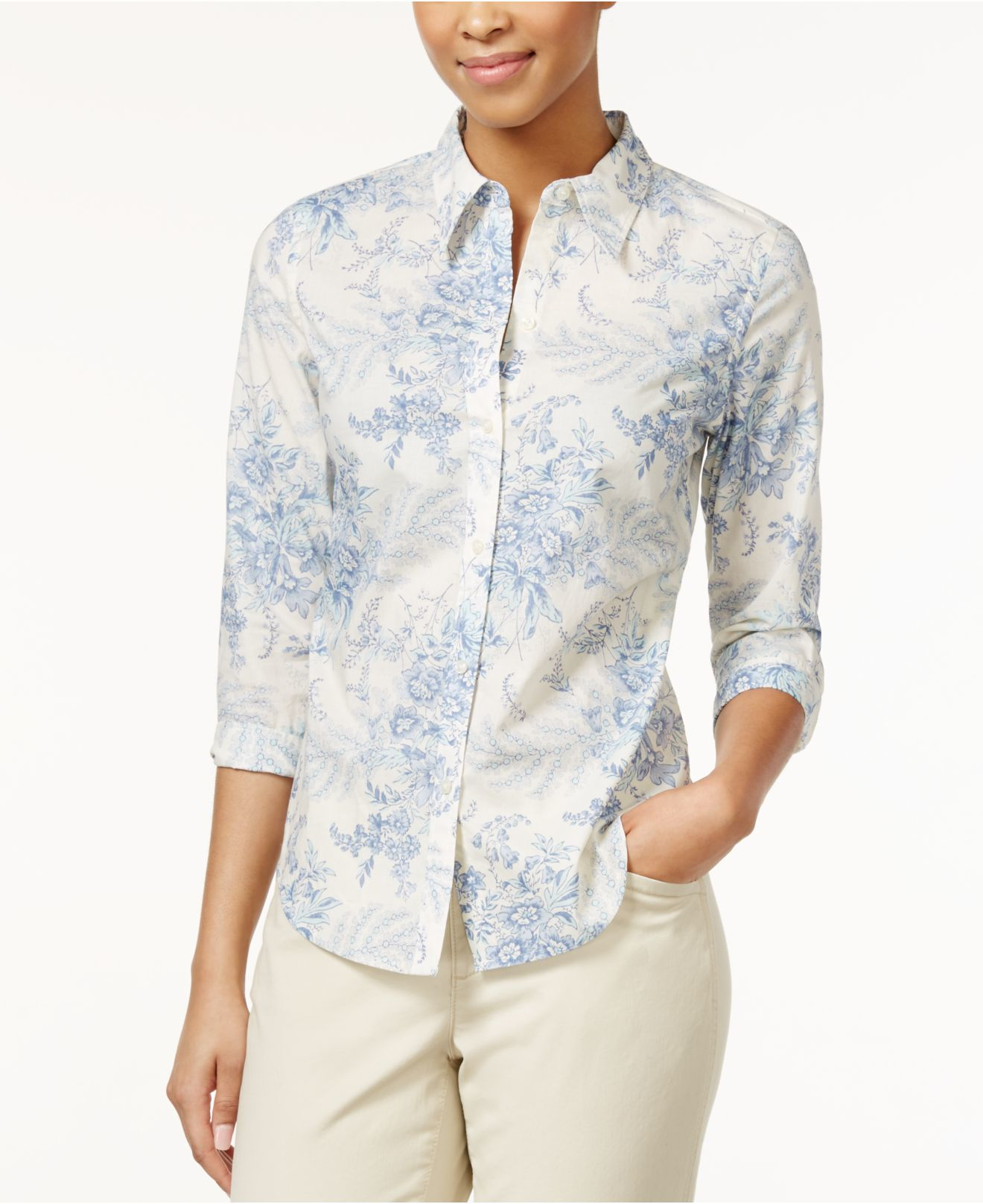 Lyst American Living Printed Floral Button Down Shirt