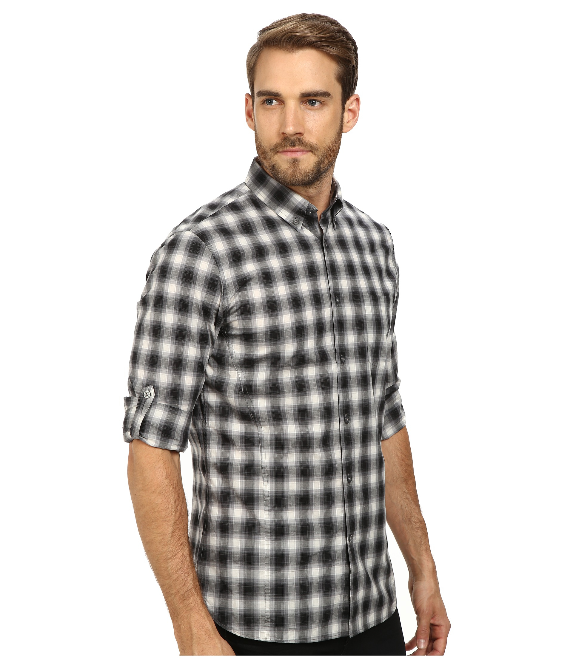 John varvatos Roll Up Sleeve Shirt With Button Down Collar And ...