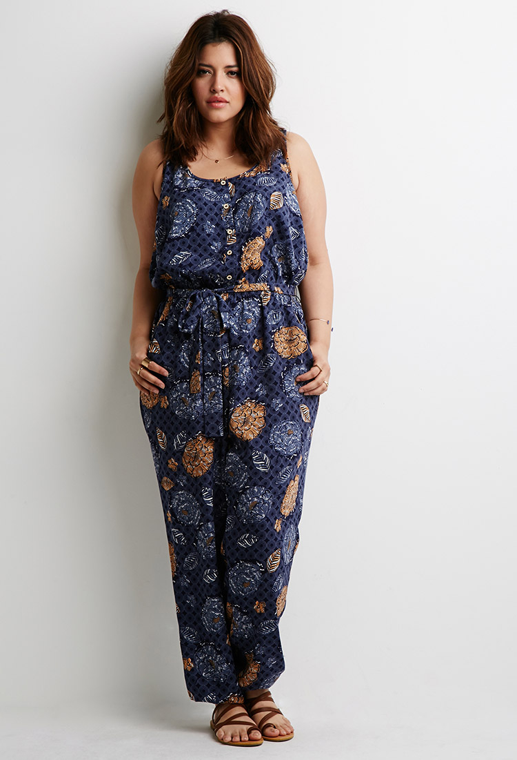 024188d45c0f Forever 21 Plus Size Abstract Floral Jumpsuit in Blue - Lyst