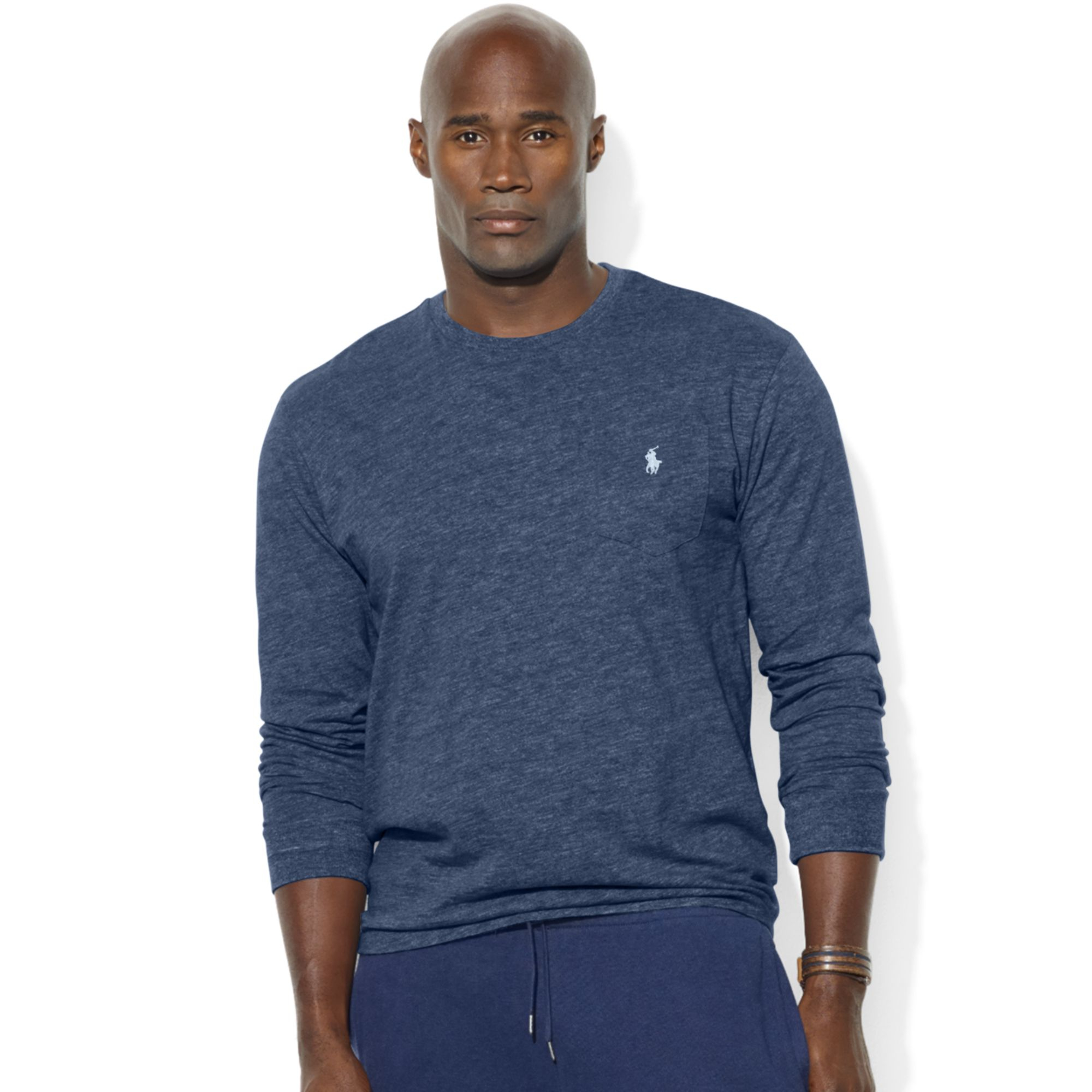 Ralph lauren classicfit longsleeve pocket crew neck cotton for Big and tall polo shirts with pockets