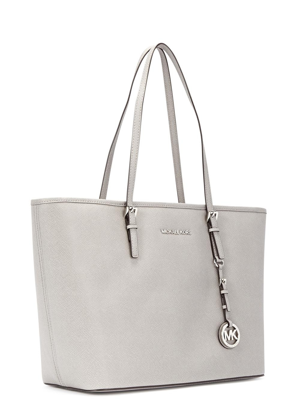 36be479856b5 Michael Kors Jet Set Dove Grey Saffiano Leather Tote in Gray - Lyst