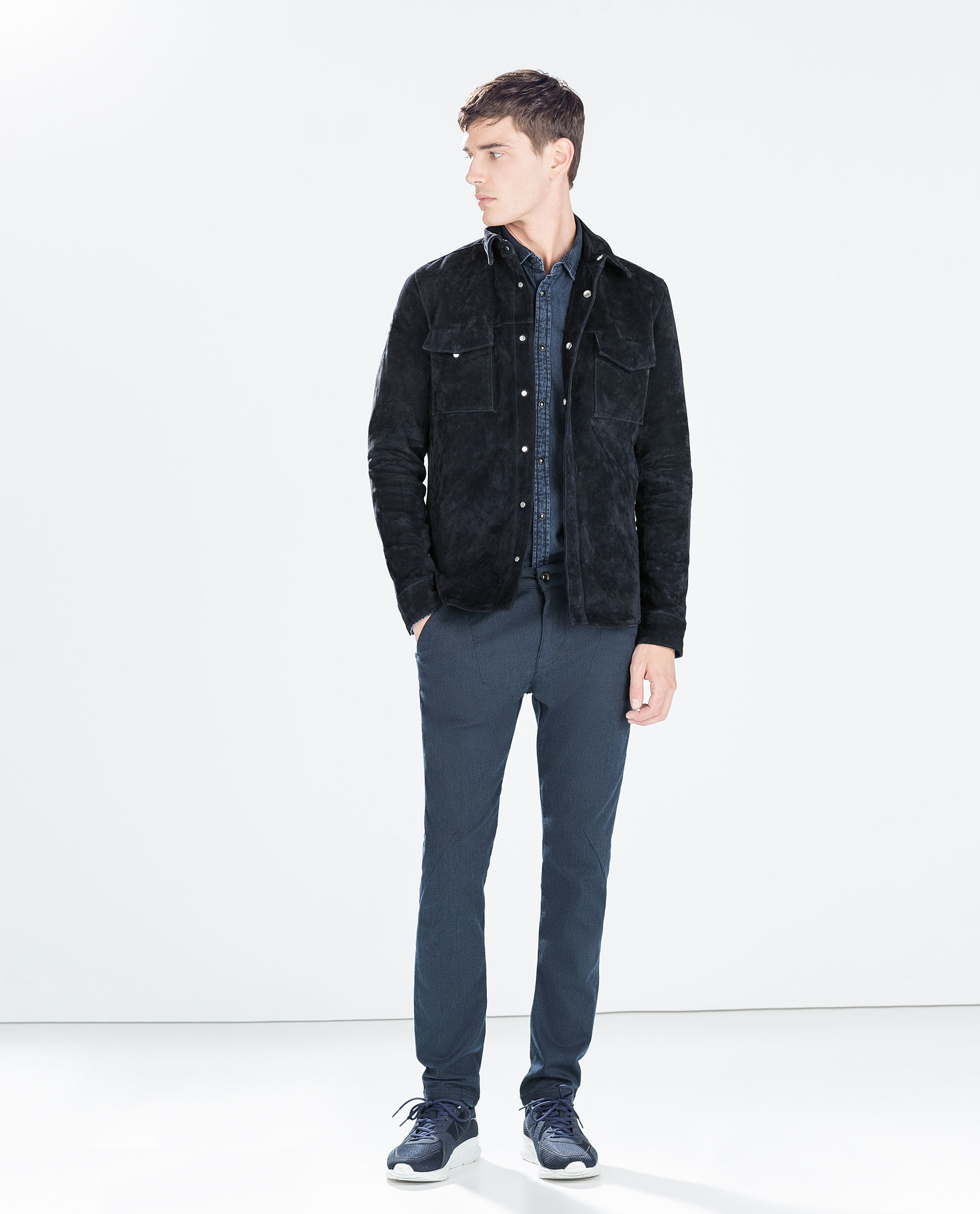 Zara Suede Overshirt In Blue For Men Lyst
