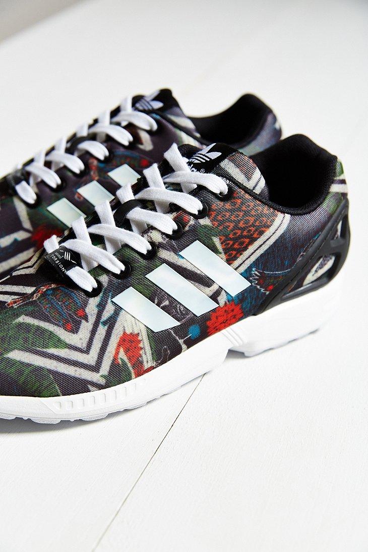 adidas Originals Zx Flux Jungle Print Running Sneaker in Black - Lyst