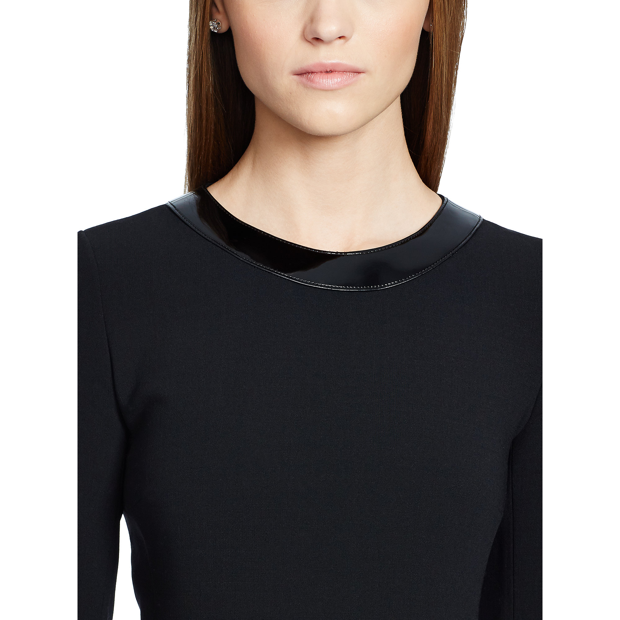 Buy Cheap Visit New Ralph Lauren Leather-Trimmed Long Sleeve Top Discount Extremely Limit Discount oqbmKQkY