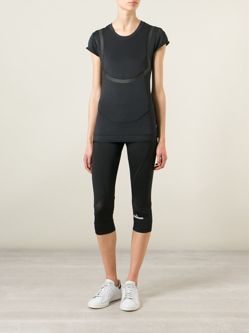 adidas by stella mccartney mesh insert cropped running. Black Bedroom Furniture Sets. Home Design Ideas