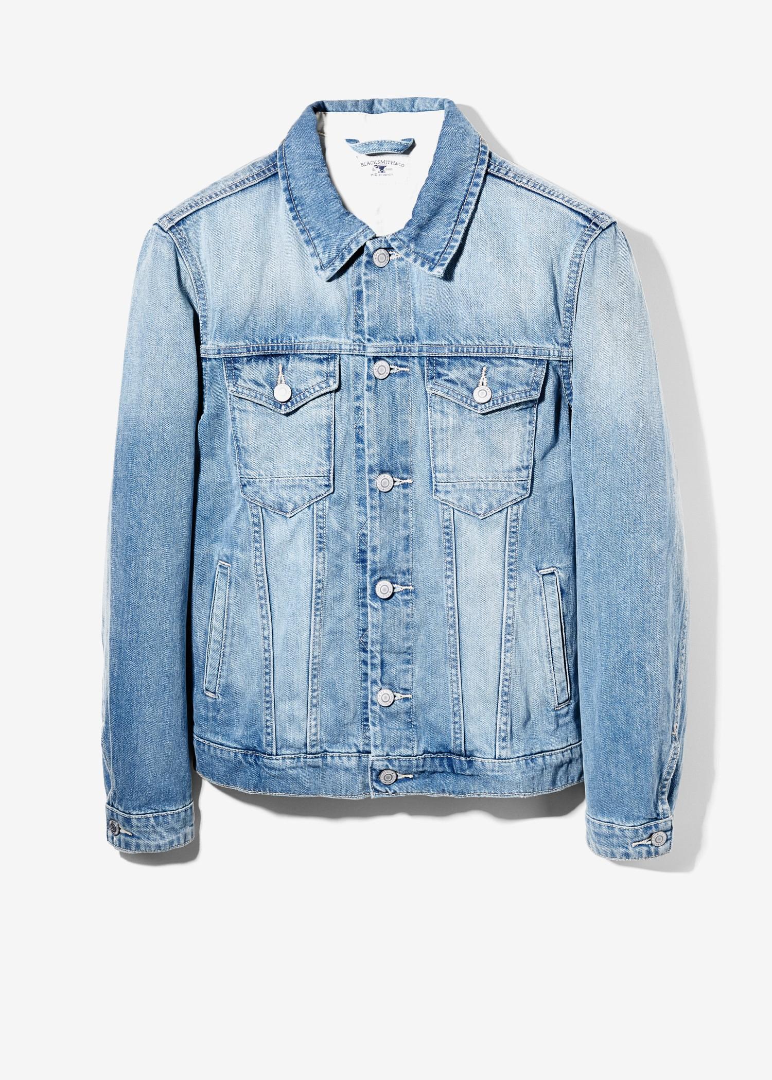Mango Light Wash Denim Jacket In Blue For Men Lyst
