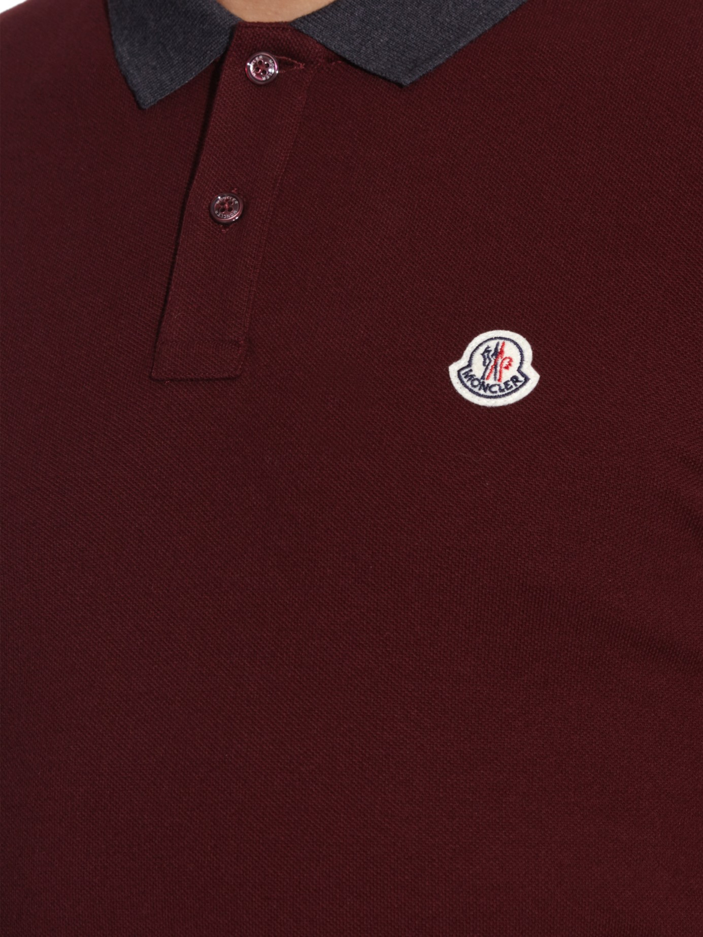 bc278b77d Moncler Contrast-collar Cotton-piqué Polo Shirt in Purple for Men - Lyst