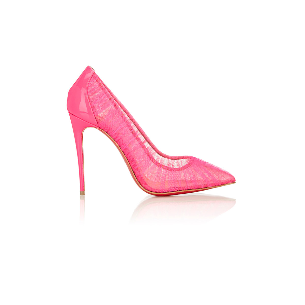 lyst christian louboutin tulle pointtoe pumps in pink