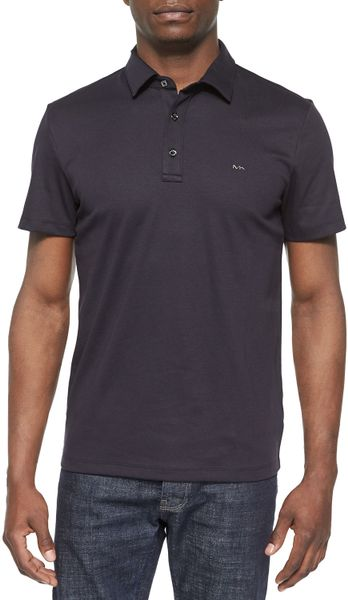 Michael kors short sleeved knit polo shirt in gray for men for Michael kors mens shirts sale