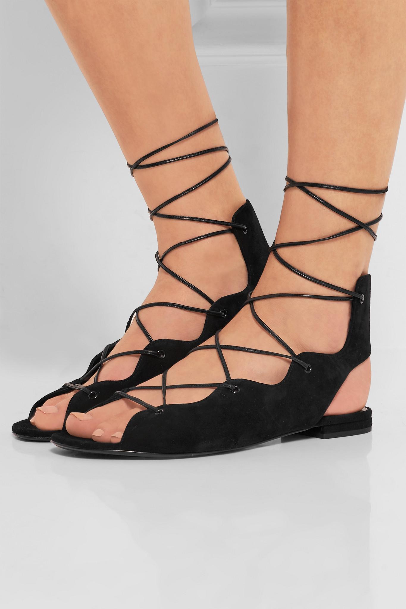 Saint Laurent - Lace-up Suede Sandals