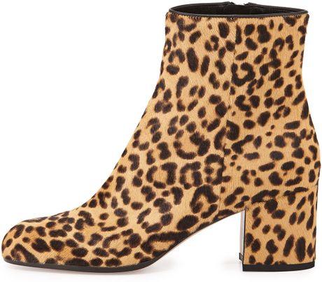 gianvito leopard print calf hair block heel ankle