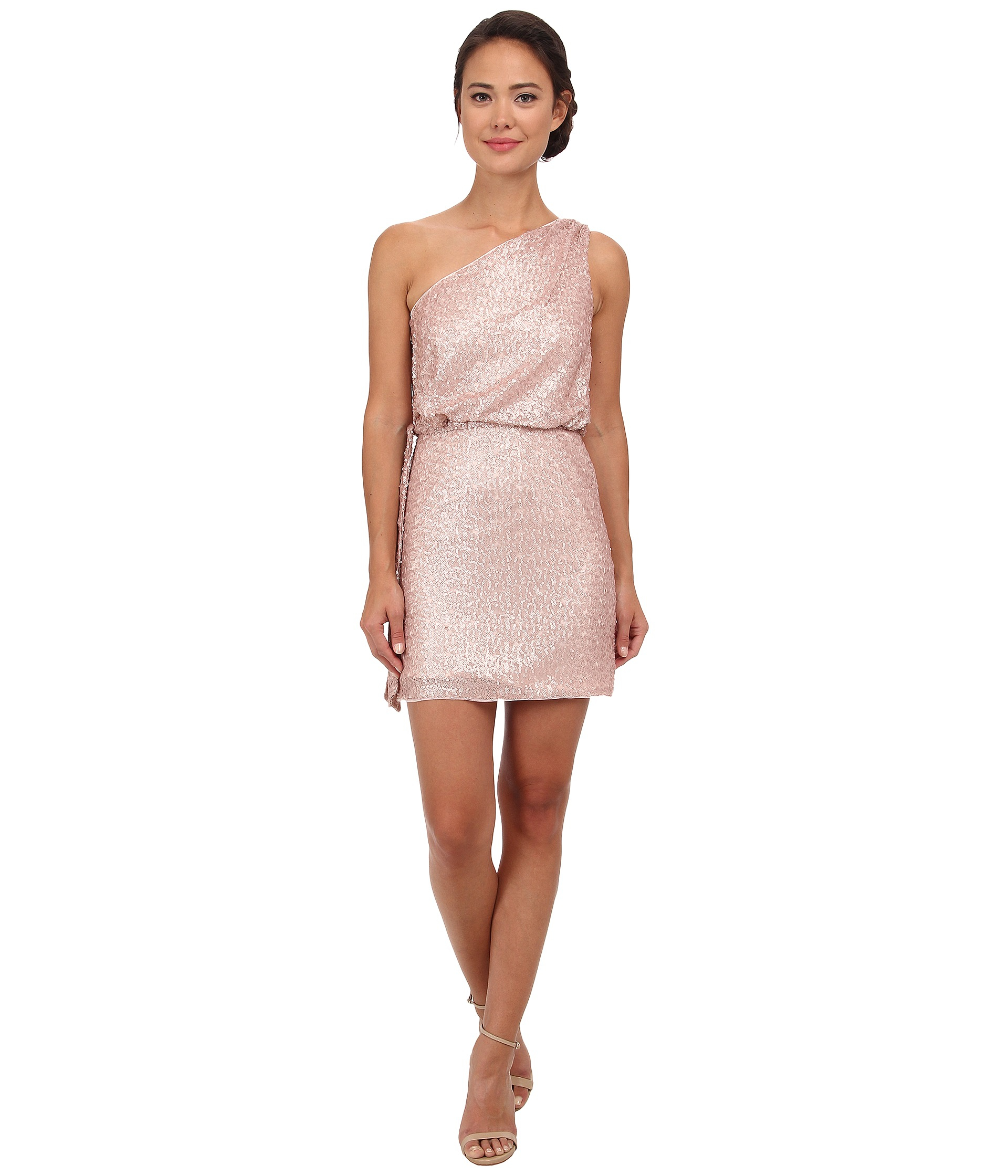 Aidan mattox One Shoulder Sequin Cocktail Dress in Pink  Lyst
