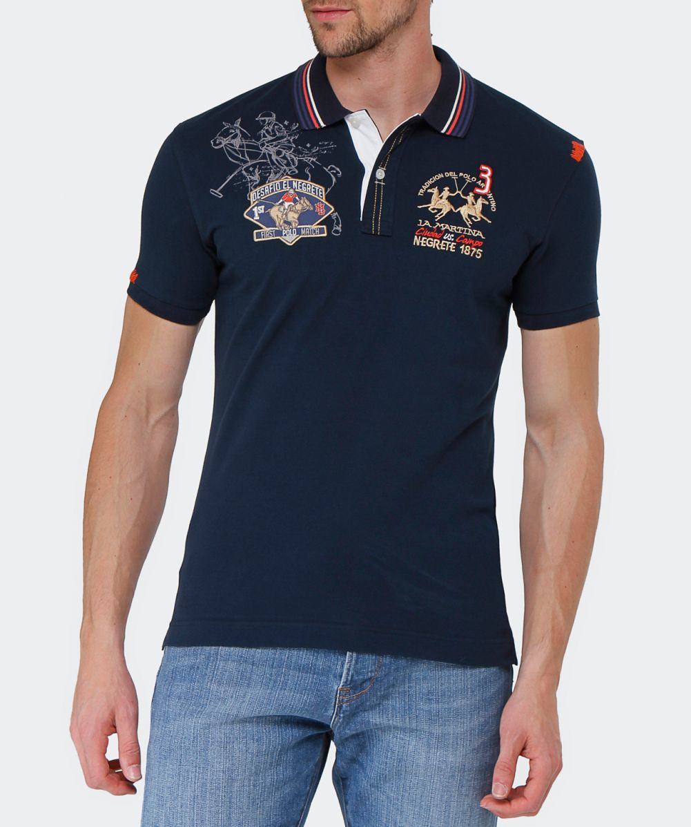 la martina slim fit logo polo shirt in blue for men lyst. Black Bedroom Furniture Sets. Home Design Ideas