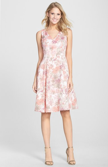 Lyst Adrianna Papell Jacquard V Neck Fit Amp Flare Dress