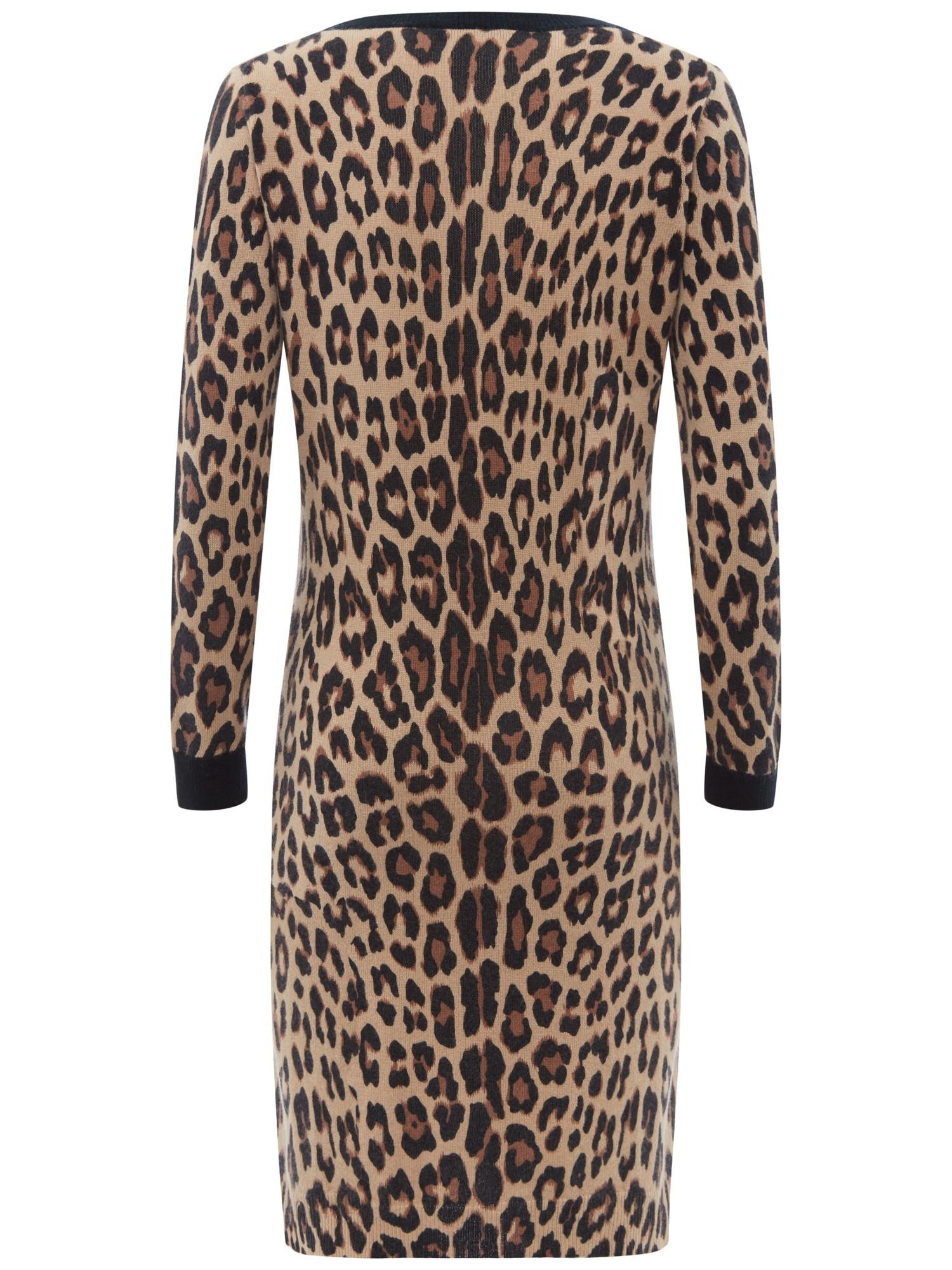 Jaeger Leopard Print Knitted Dress - Lyst 602e5ddf6