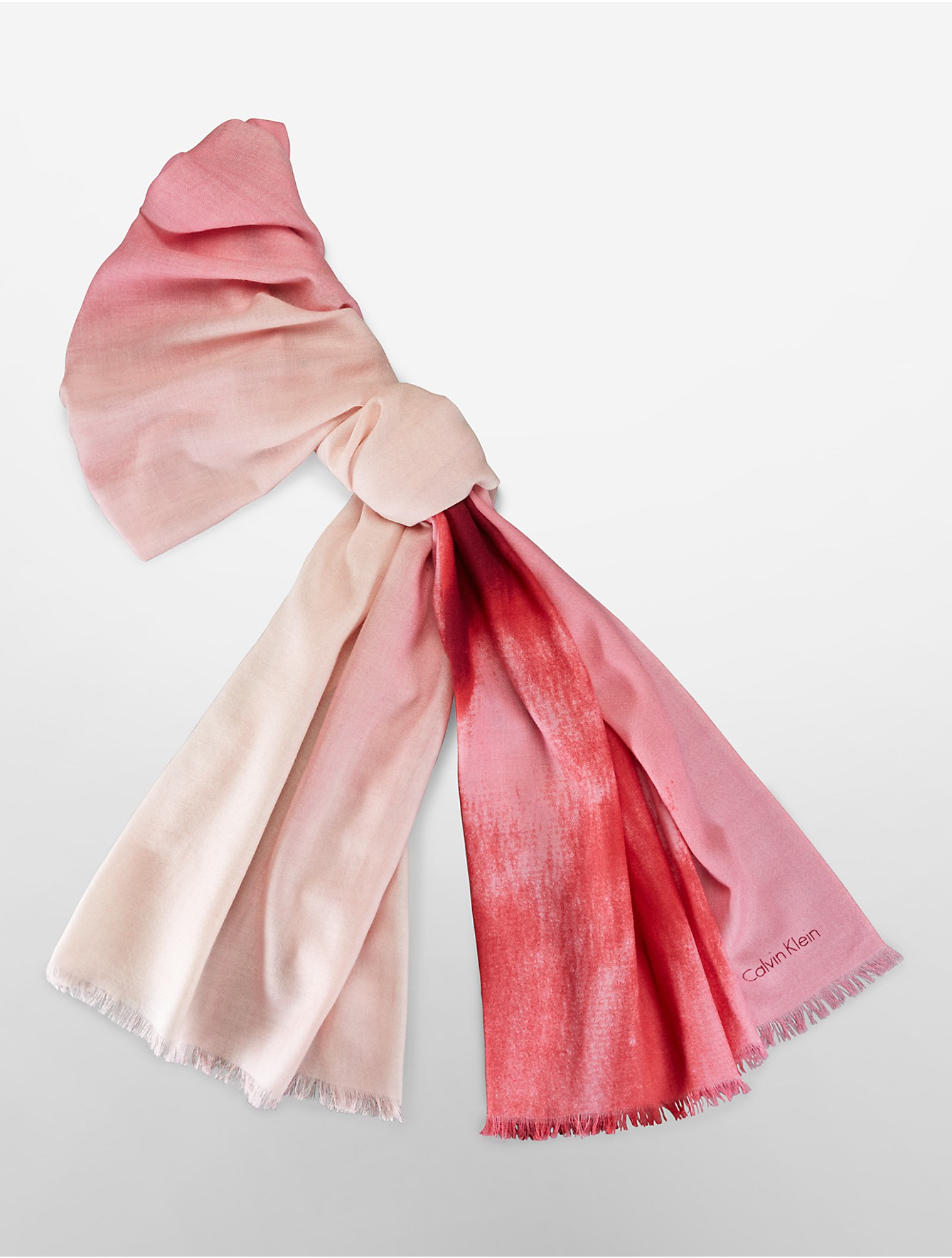 calvin klein white label ombre shaded wool scarf in pink