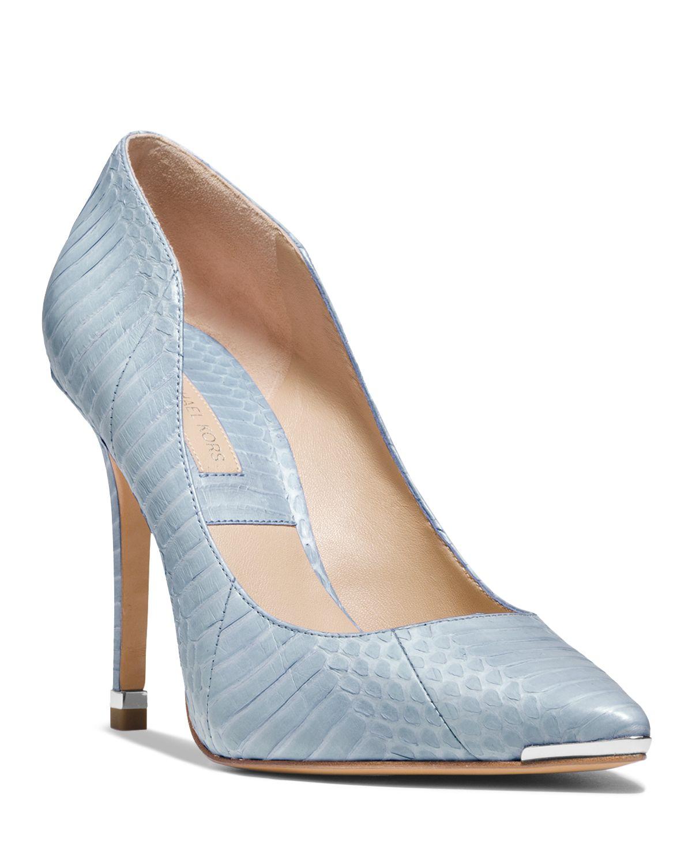 michael kors pointed toe pumps avra high heel in blue lyst. Black Bedroom Furniture Sets. Home Design Ideas