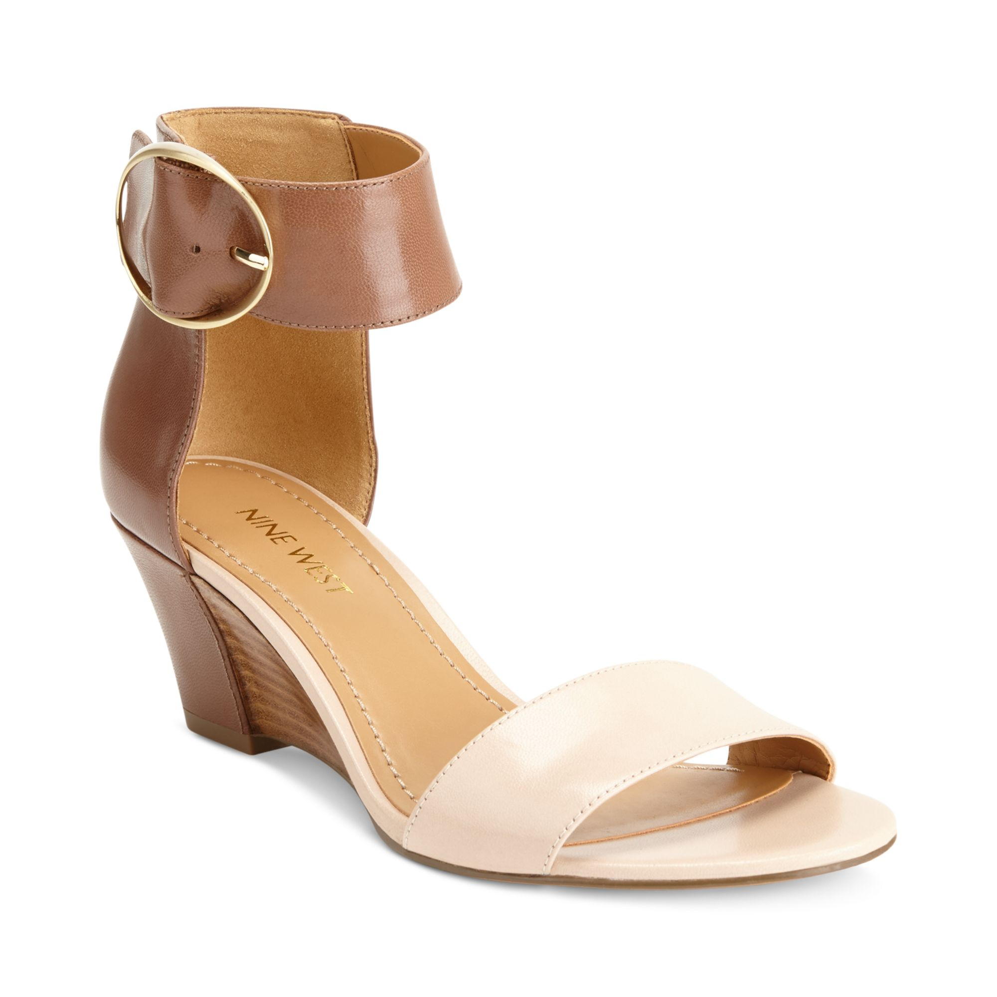 Nine West Ventana Ankle Strap Demi Wedge Sandals In Brown