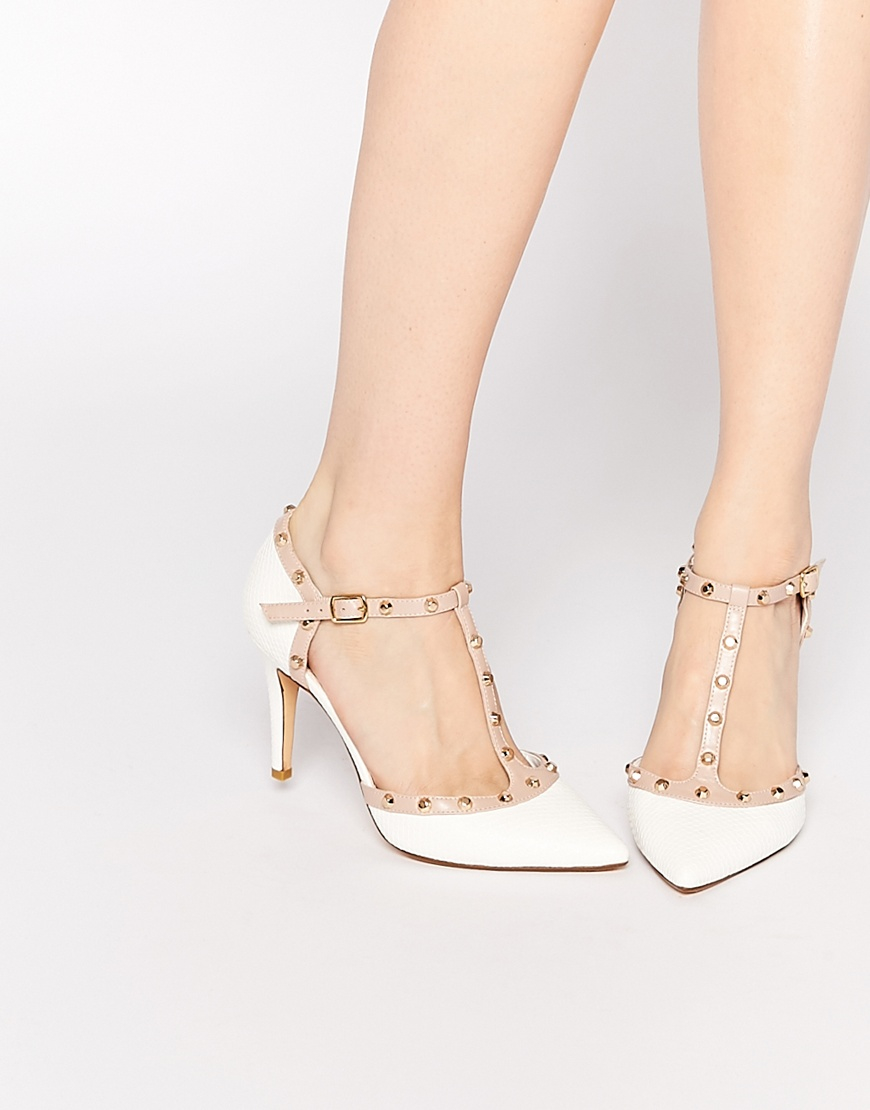dune cliopatra white stud heeled shoes in white lyst