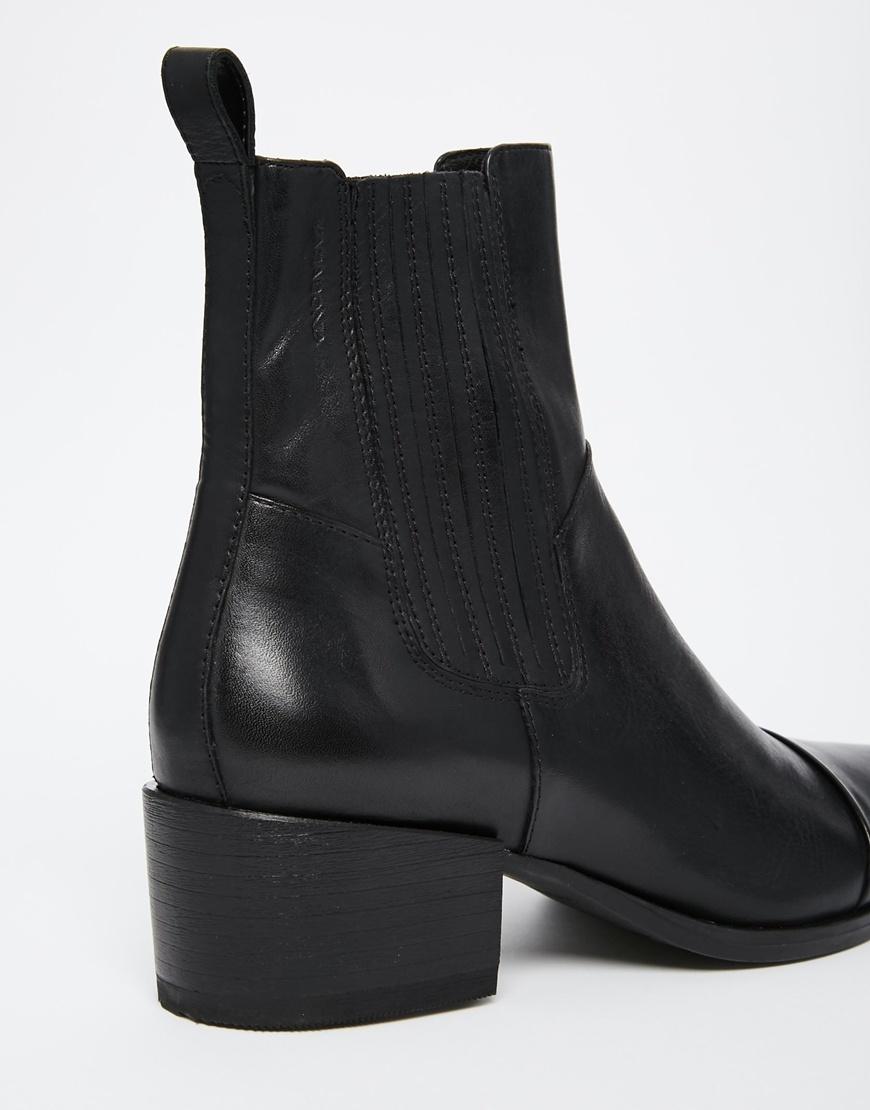 vagabond marja black leather point ankle boots in black lyst. Black Bedroom Furniture Sets. Home Design Ideas
