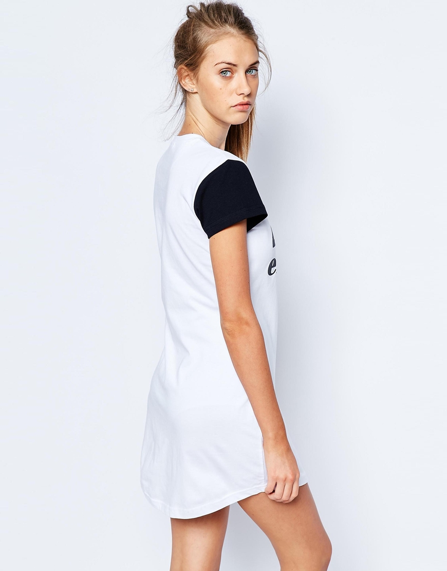 4c2225ee61e Ellesse T-shirt Dress With Contrast Sleeve   Front Logo in White - Lyst